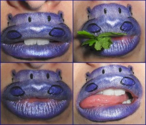 hippo lip art 700x600 300x257 Lip art