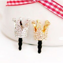 Fashion Gold Silver Bridal Crown Crystal Rhinestone dustproof of cell phone Mixed Order AAA Free Komórkowe ozdoby