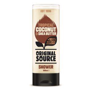 Tropikalny kokos Maslo shea OS 300x293 Wegańskie żele pod prysznic Original Source zmieniają się na lepsze! Odkryj nowe poręczne opakowania